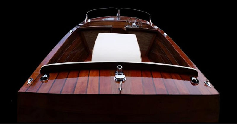 1950 Chris Craft Sportsman rebuilt by customer Norm Friar using Mahogany.