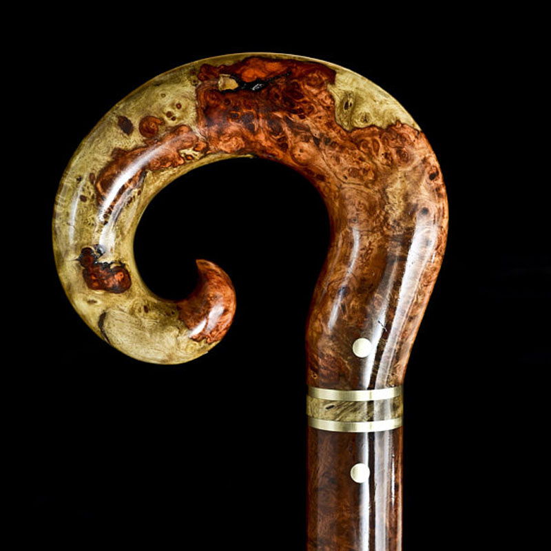 Amboyna Burl walking cane crafted by Walking with Wood